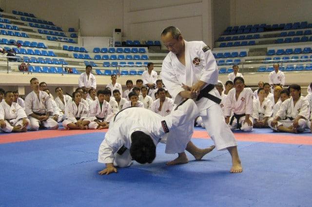 Arai-sensei undervisar i samband med WSKO:s koshukai på Bali 2009